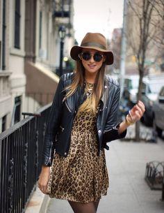 Leopard dress & leather jacket