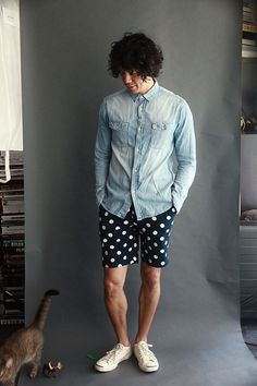 our boy (joe is the new black) rocking his polka dots and denim combo.