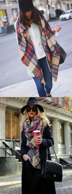 Multicolor Plaid Raw Edge Scarf From Choies