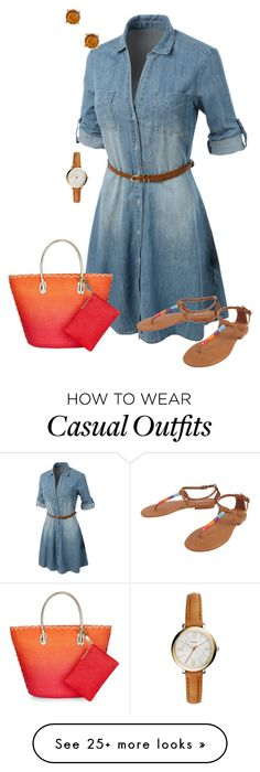 """""""Casual Day 3"""" by divalious-77 on Polyvore featuring LE3NO, Cocobelle, Accessorize, FOSSIL and Nordstrom Rack"""