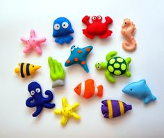 Felt Sea Creatures Collection Magnets Baby by LadybugOnCha Clay Crafts, Felt Crafts, Diy And Crafts, Crafts For Kids, Baby Mobile, Felt Mobile, Sewing Projects, Craft Projects, Projects To Try