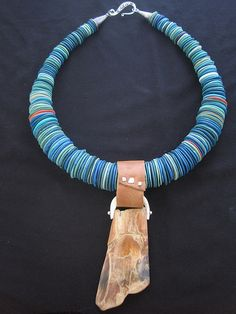 spoonmakers's blog   e-bu Jewelry - Contemporary Primitive Jewelry -  Sterling Silver Mammoth Ivory Bone Polymer Leather.