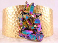 Titanium Aura Quartz and Hammered Brass Cuff via Etsy.