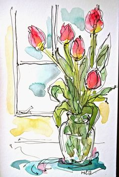 66 New Ideas For Simple Art Drawings Sketches Watercolor Painting Watercolor Sketchbook, Pen And Watercolor, Art Sketchbook, Watercolour Painting, Watercolor Flowers, Fashion Sketchbook, Watercolor Portraits, Watercolor Landscape, Watercolor Illustration
