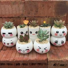 Creative small pots, potted plants, office small bonsai,pots · Little Cute · Online Store Powered by Storenvy Flower Pot Art, Flower Pot Design, Small Flower Pots, Painted Plant Pots, Painted Flower Pots, Small Plants, Potted Plants, Pots For Plants, Small Succulents