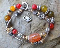 Agate Multistrand Beaded Bracelet with Silver Heart by LKArtChic