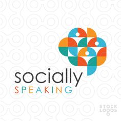 Socially Speaking Logo for sale: Modern, abstract and bold design that uses geometric shapes to create the impress of a brain and speech bubble with [. Design Logo, Modern Logo Design, E Design, Branding Design, Graphic Design, Abstract Logo, Geometric Logo, Geometric Shapes, Logos