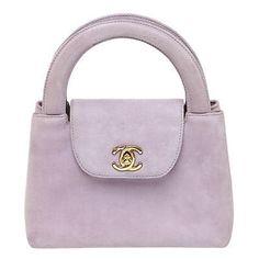 Chanel Lavender Suede Mini Top Handle Handbag ($1,356) ❤ liked on Polyvore featuring bags, handbags, lavender handbag, chanel, lavender purse, suede purse and mini purse