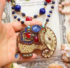 Кулоны, подвески ручной работы. Восточный слон. Кулон - с лазуритом, рубинами, керамикой, вышивка. Елена Ноэль (ElenNoel). Ярмарка Мастеров.