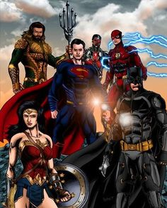 My rendering of the DC Extended Universe Justice League (including GL) in the style of Ivan Reis. Superman, Batman, and Wonder Woman are from 'DC Univer. Zack Snyder Justice League, Dc Comics Characters, Fictional Characters, Batman And Superman, Comic Character, Dc Universe, Marvel Avengers, Wonder Woman, Fan Art