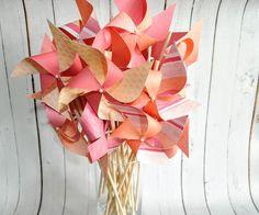 Pink-orange-red watercolor pinwheels by Msapple