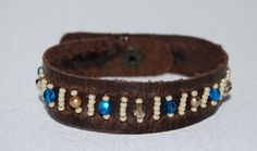 Blue Gold and Brown Leather Cuff Bracelet by mokoandco on Etsy, $25.00