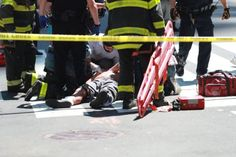 Vehicle strikes pedestrians in Times SquareOne person is dead...  Vehicle strikes pedestrians in Times Square  One person is dead and 22 more are injured after a speeding car plowed into a crowd into New York Citys Times Square the New York City Fire Department said Thursday. The New York City Police Department said the incident which occurred around 12 p.m. local time does not appear to be terror-related.  A witness told Yahoo News that after the car came to a halt on the sidewalk the…
