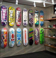 Skateboards on Angled Slatwall or Diagonal Wall? Skate Bord, Skate 3, Skate Decks, Skateboard Rack, Skateboard Design, Deck Design, Wall Design, Cool Deck, Cool Skateboards