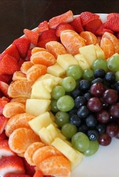 We love this rainbow fruit tray. A fun and healthy way to incorporate some color into a kid's birthday party. We love this rainbow fruit tray. A fun and healthy way to incorporate some color into a kid's birthday party. Birthday Party Snacks, Rainbow Birthday Party, Birthday Desserts, Snacks Für Party, Unicorn Birthday Parties, Fruit Birthday, Kids Birthday Snacks, 5th Birthday, Fruit Party