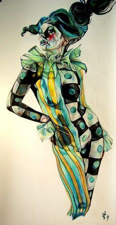 Priscilla Ainhoa Griscti circus jester art illustration woman stripes checkers
