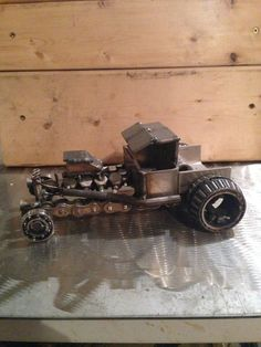 Scrap Metal T-Bucket Hot Rod Sculpture by CandAMetalWorks on Etsy
