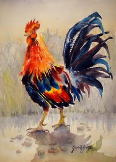 Rooster Contemporary Realism Original Watercolor on by JanetGroza