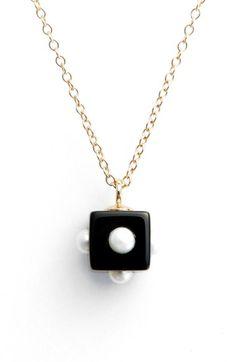Nektar de Stagni Onyx & Mini Cultured Pearl Pendant Necklace