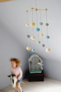 Crochet Pastel Baby Mobile - Grey/aqua/yellow/mint green Ball Mobile - Baby boy's/ girl's room decoration