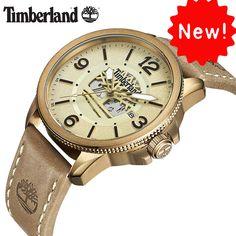 19a7f93fe62 Timberland Originais Mens Relógios Mecânicos de Couro Marrom Ouro Fivela  100 M À Prova D  Água Ao Ar Livre 2018 Da Marca de Luxo Relógios Tipo de  Item  ...