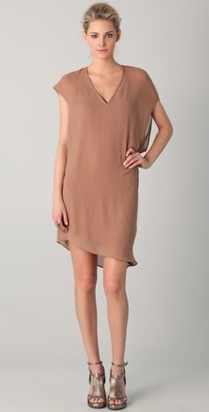 Will pair with black turtleneck + tights for winter - Helmut Lang V Neck Asymmetrical Dress