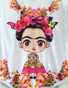 BEAUTIFUL FASHION TSHIRT 100% Polyester White Tshirt with Custom design. Monday-Saturday. Thank you, LA HOT FASHION Frida Art, Mexican Folk Art, Mexican Crafts, Mexican Party, Arte Popular, Skull Art, Sugar Skull, Flower Art, Fashion Beauty