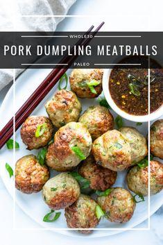 Pork Dumpling Meatballs Keto, Paleo) - a dash of dolly 30 recipes crockpot meatballs Pork Dumpling Meatballs Keto, Paleo) - a dash of dolly Paleo Whole 30, Whole 30 Recipes, Pork Recipes, Paleo Recipes, Crockpot Recipes, Meatball Recipes, Advocare Recipes, Oven Recipes, Turkey Recipes
