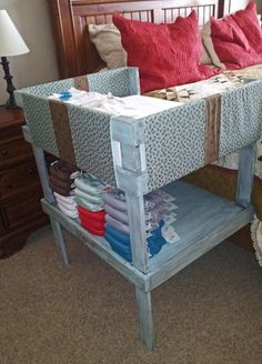 Homemade co-sleeper.... I knew this had to be done! Look at the cute cloth diapers too.