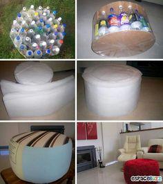 Diy Pouf bouteiles PET Recyclage