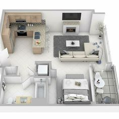 Small Apartment Plans, Small Apartment Design, Apartment Floor Plans, Apartment Layout, Small House Design, Small Apartments, House Layout Plans, Small House Plans, House Layouts