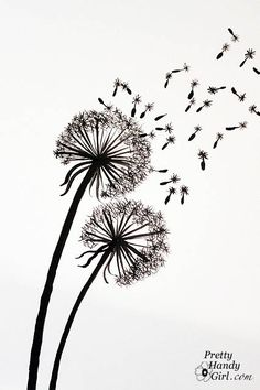 handpaint some dandelions - step-by-step on this blog