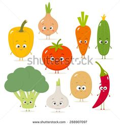 Cartoon vegetables vector set in flat style. Onion, carrot, cucumber, paprika, tomato, pepper, broccoli, garlic, potato - stock vector