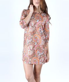 Look what I found on #zulily! Pink & Blue Paisley Shift Dress #zulilyfinds