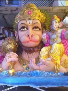 Lord Hanuman with Lord Ganesh Hanuman Images, Ganesh Images, Lord Ganesha Paintings, Ganesha Art, Saraswati Goddess, Shiva Shakti, Lord Rama Images, Ganesh Statue, Shri Hanuman
