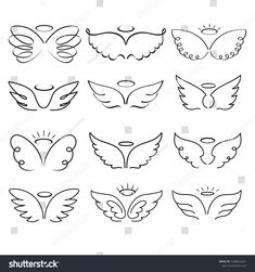 Illustrazione stock 1498014647 a tema Angel Wings Drawing Illustration Winged Angelic Dog Tattoos, Mini Tattoos, Cute Tattoos, Sleeve Tattoos, Animal Tattoos, Halo Tattoo, Small Symbol Tattoos, Celtic Tattoos, Small Wing Tattoos