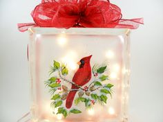 Lighted Glass Block Red Cardinal Hand Painted 8x8x3