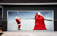 Santa Claus Garage Door Cover Christmas Garage Door Mural & Santa Claus Garage Door Cover Christmas Garage Door Mural ...