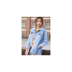 Distressed Washed Denim Jacket (£27) ❤ liked on Polyvore featuring outerwear, jackets, women, distressed denim jacket, denim jacket, distressed jean jacket, light blue jean jacket and jean jacket