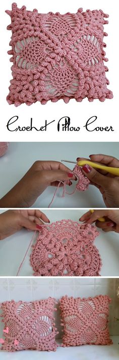 Crochet Vintage Pillow cover – Design Peak The Pillow Covering Crochet TutorialCrochet Ombre Plush Square Pillow Cover Free Crochet…Crochet TOP Pattern Vintage Crochet Bikini COVER… Crochet Flower Tutorial, Crochet Flower Patterns, Crochet Designs, Crochet Flowers, Knitting Patterns, Pattern Flower, Knitting Ideas, Crochet Ideas, Crochet Motifs