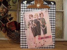 Altered Collage Clipboard Sewing Pattern1960 by BECreativeCo