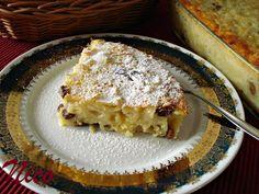 BUDINCA DE PASTE CU BRANZA DULCE SI STAFIDE Just Eat It, Apple Pie, Lasagna, French Toast, Deserts, Muffin, Food And Drink, Bread, Cooking