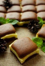 Składniki: Ciasto: - 5 jajek (osobno żółtka i białka) - 220g mąki pszennej - 180g cukru pudru - 1 łyżeczka proszku do pie...