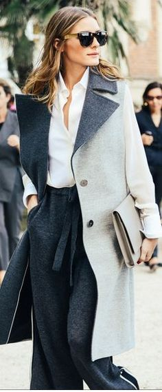 Grey Contrast Collar Revere Cape Coat by Alexander Wang.