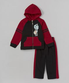 Another great find on #zulily! Black & Burgundy Zip-Up Hoodie & Pants - Infant, Toddler & Boys #zulilyfinds
