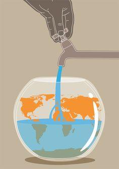 Illustration,  conceptual, editorial, water shortage, climate change, Federico Gastaldi, Salzmanart.com