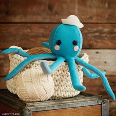 27+ Adorable Free Sewing Patterns for Stuffies, Plushies, Stuffed Animals and Other Felt and Fabric Toys- Stuffed Felt Octopus Stuffie Pattern from Lia Griffith
