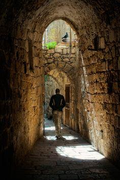 In backstreet of the old city of Jerusalem.  (by Michael Lisman)