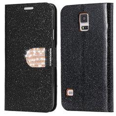 Fashion Women Girl Bling Diamond Cover Glitter PU Leather Flip Phone Case For Samsung Galaxy S5 S6 Edge Plus S7 Edge Note 4 5