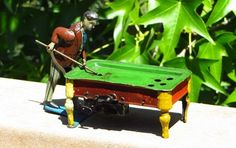 Vintage 1910 Gunthermann Kico Fisher German Tin Toy Wind Up Billiard Player Pool